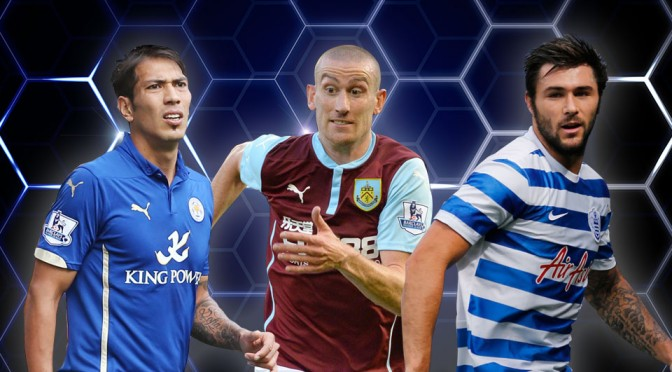 Leicester City's Leonardo Ulloa, Burnley's David Jones and QPR's Charlie Austin