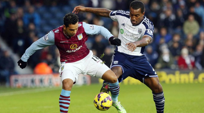 Aston Villa's Kieran Richardson and West Brom's on-loan Andre Wisdom