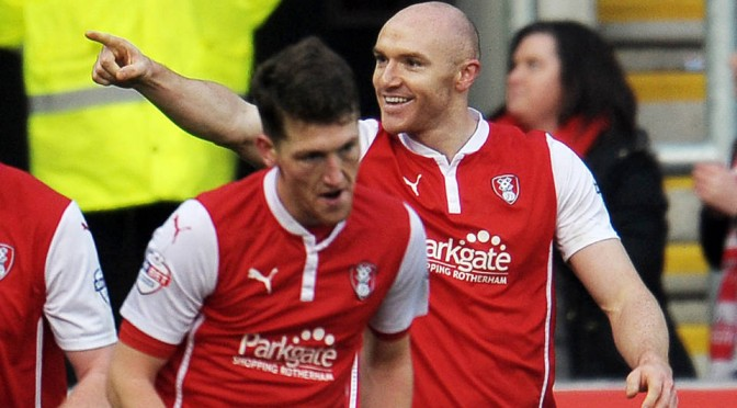 Rotherham United's Connor Sammon celebrates