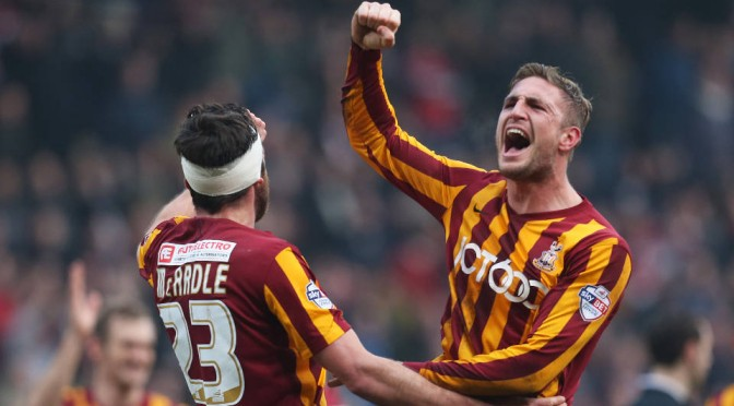 Gary Liddle and Rory McArdle of Bradford City celebrate