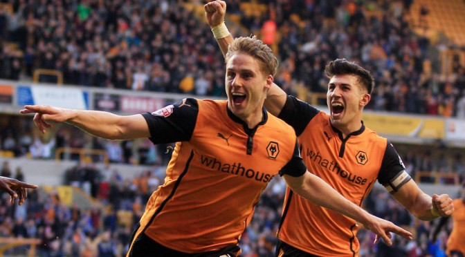 Wolves Dave Edwards celebrates scoring