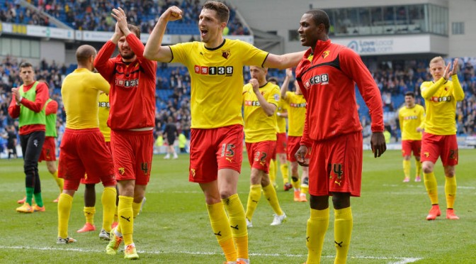 Watford celebrate promotion to the Premier League