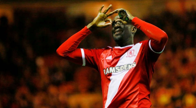 Middlesbrough's Albert Adomah celebrates