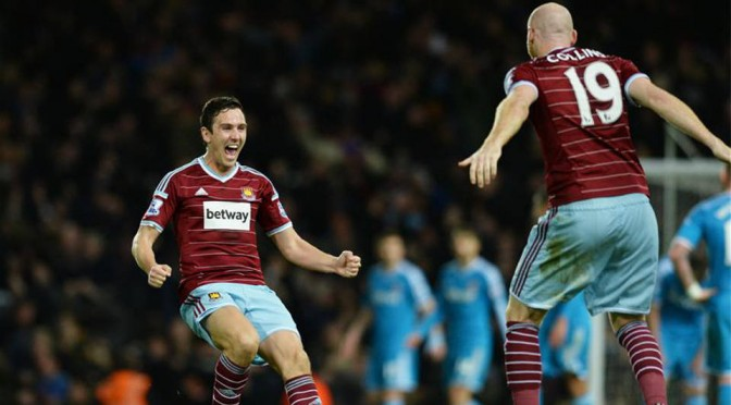 Stewart Downing and James Collins celebrate