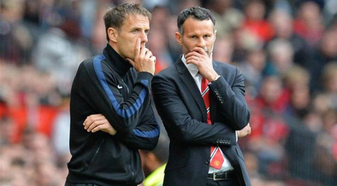 Valencia Coach Phil Neville with Ryan Giggs