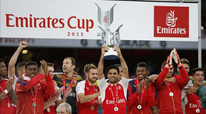Arsenal celebrate winning the Emirates Cup